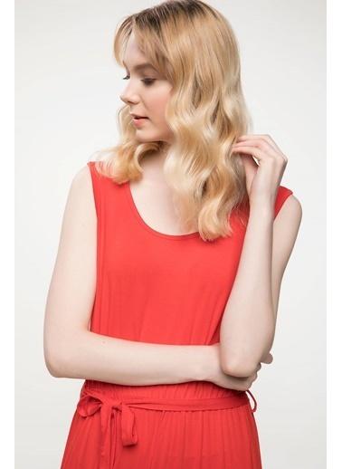 DeFacto Büzgü Detaylı Kolsuz Uzun Elbise Kırmızı